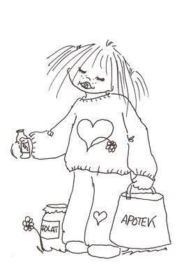 Animert svart hvitt bilde av en jente med vitaminbokser og en apotekpose.