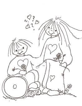 Animert svart hvitt bilde av et forelsket ungdomspar.