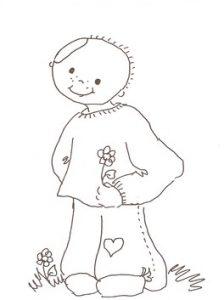 Animert svart hvitt bilde av en gutt med plasterlapp på siden av hodet med en blomst i hånden.