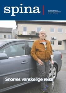 Forsidebilde til medlemsbladet Spina nr. 3 2017. Viser en mann med krykker stående ved siden av en bil.
