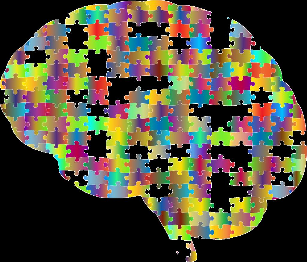 Animert bilde av et puslespill formet som en hjerne.