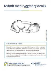 Forsiden på brosjyren Nyfødt med ryggmargsbrokk viser en animert naken baby liggende på magen.