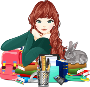 Tegning av ung jente med rødlig hår. Hun sitter ved en pult full av skolemateriale og en grå kanin sitter oppå en stabel av bøker
