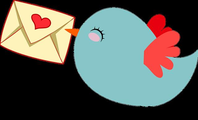 Animert blå liten fugl med brev i nebbet.