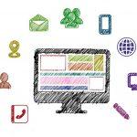 Animert bilde av en dataskjerm med mange digitale ikoner rundt.