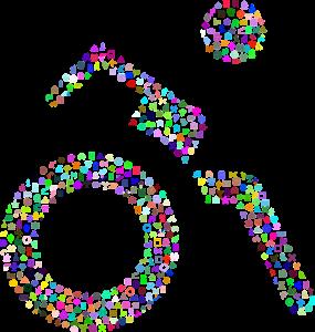 Illustrasjon av rullestolbruker. Laget av små ikoner i ulike farger